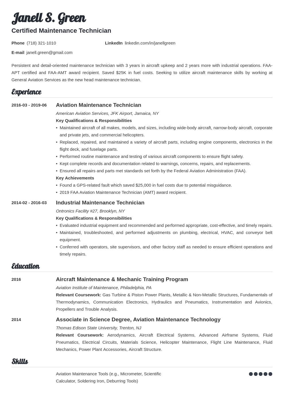 Maintenance Technician Resume Example Template Valera Resume Examples Job Resume Examples Home Health Aide