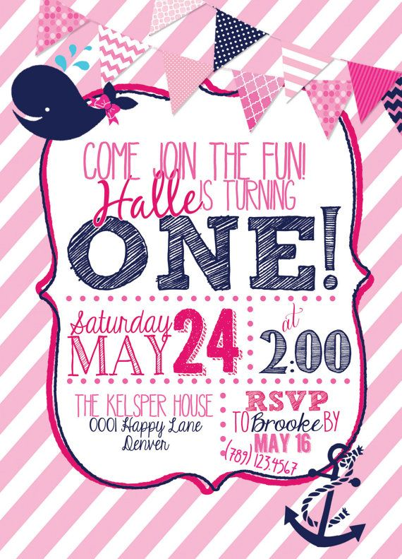 nautical 1st birthday invitation girl pink by averykasperdesign