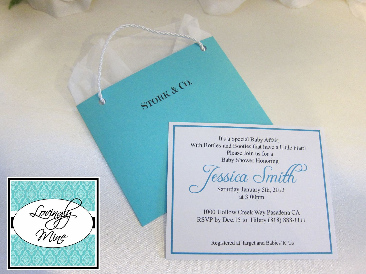 Baby Shower Invitations - Stork & Co. - Tiffany Co. Inspired Bag ...