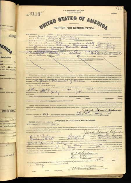 Jacob Samuel Oshman Age: 26 Birth Date: 10 May 1900 Birth Place: Lubtz,  Russia Record Date: 13 May 1926 Court District: Southern District of Texas  Court ...