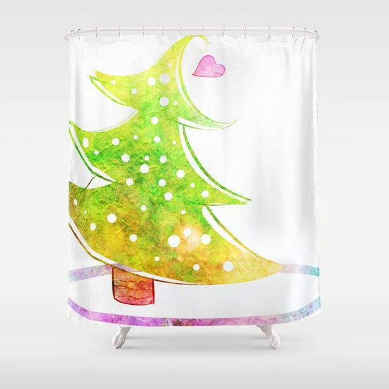 Groovy Watercolor Christmas Tree Shower Curtain By Samantha Lynn Worldwide Shipping Available At Society6