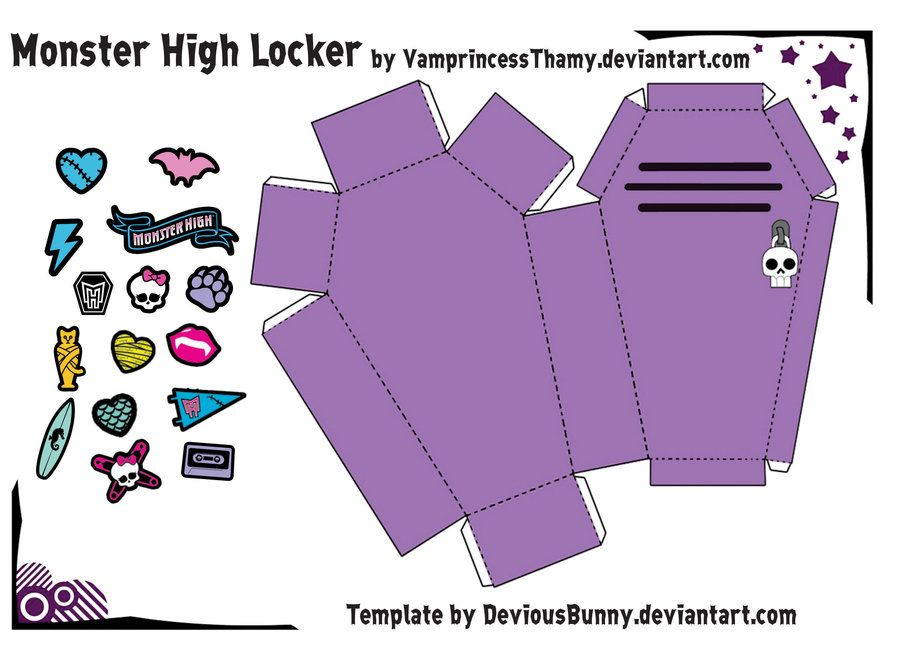 Monster High Locker Template by u003dDeviousBunny on deviantART - monster template
