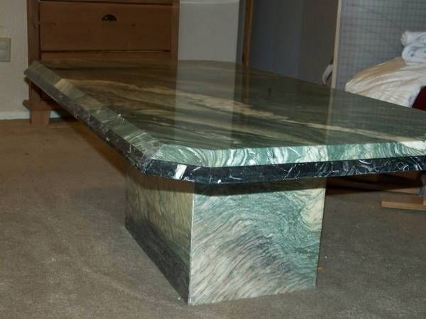 FOR SALE 1980s vintage green and white coffee table