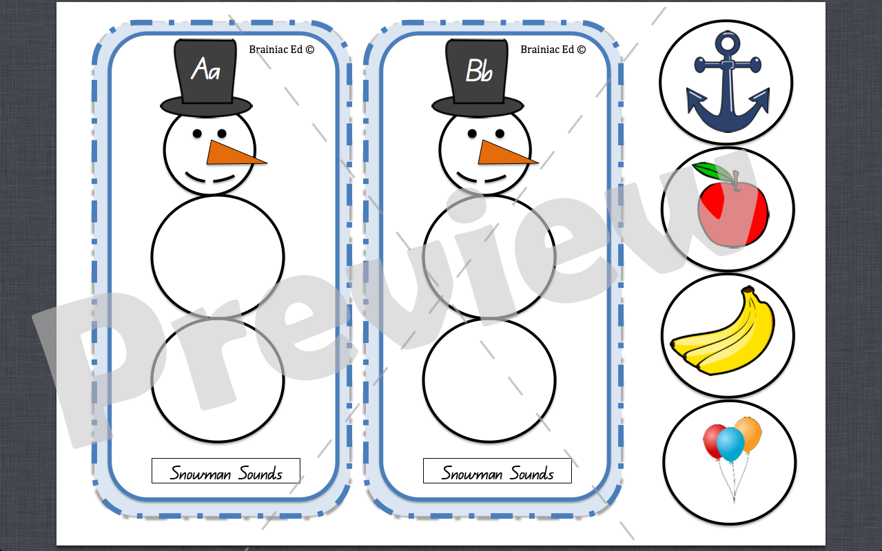 Snowman Sounds Alphabet Game
