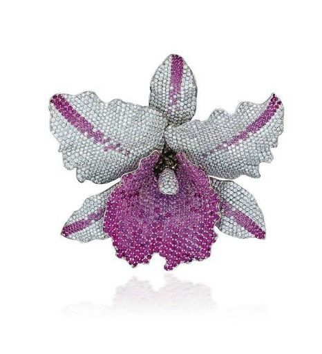 An Attractive Coloured Sapphire and Diamond Orchid Brooch by Kholoud Osama Kurdi for Toujours Jewellery