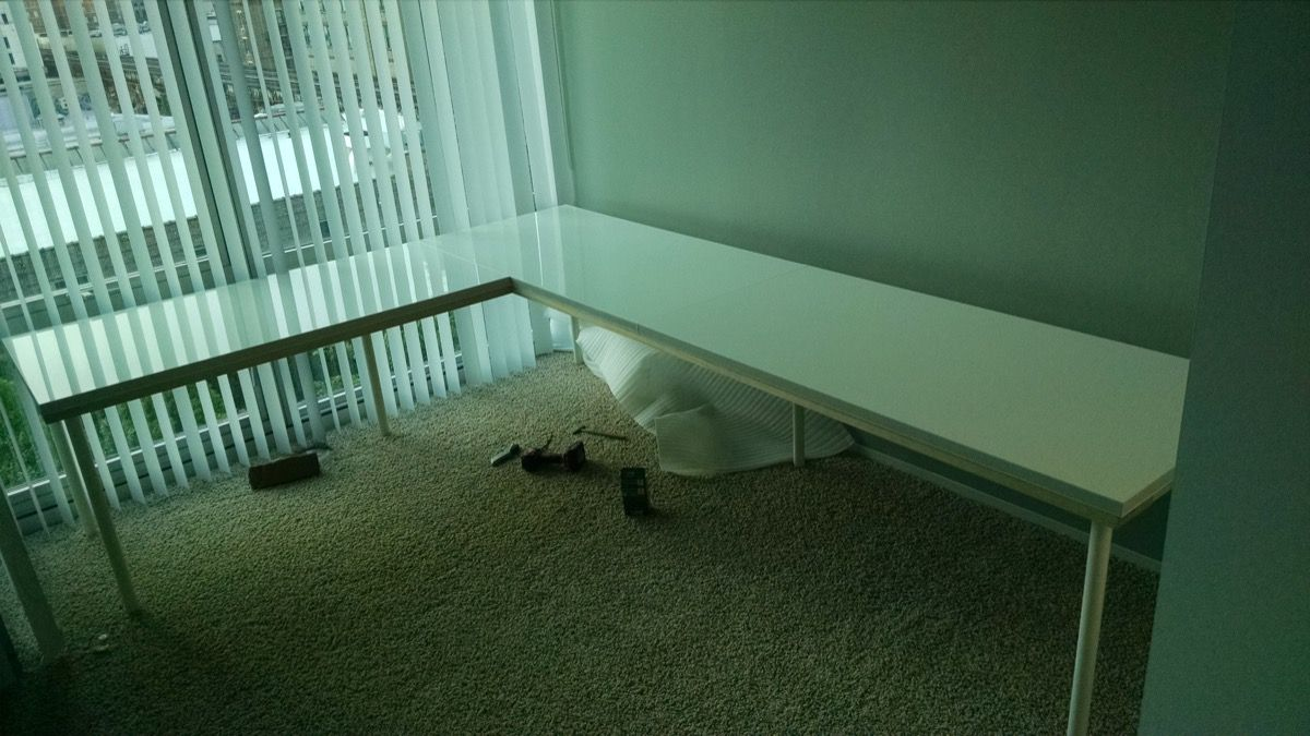 Large Corner Desk Upsized From Ikea Linnmon Tables Large Corner Desk Ikea Desk Ikea Corner Desk