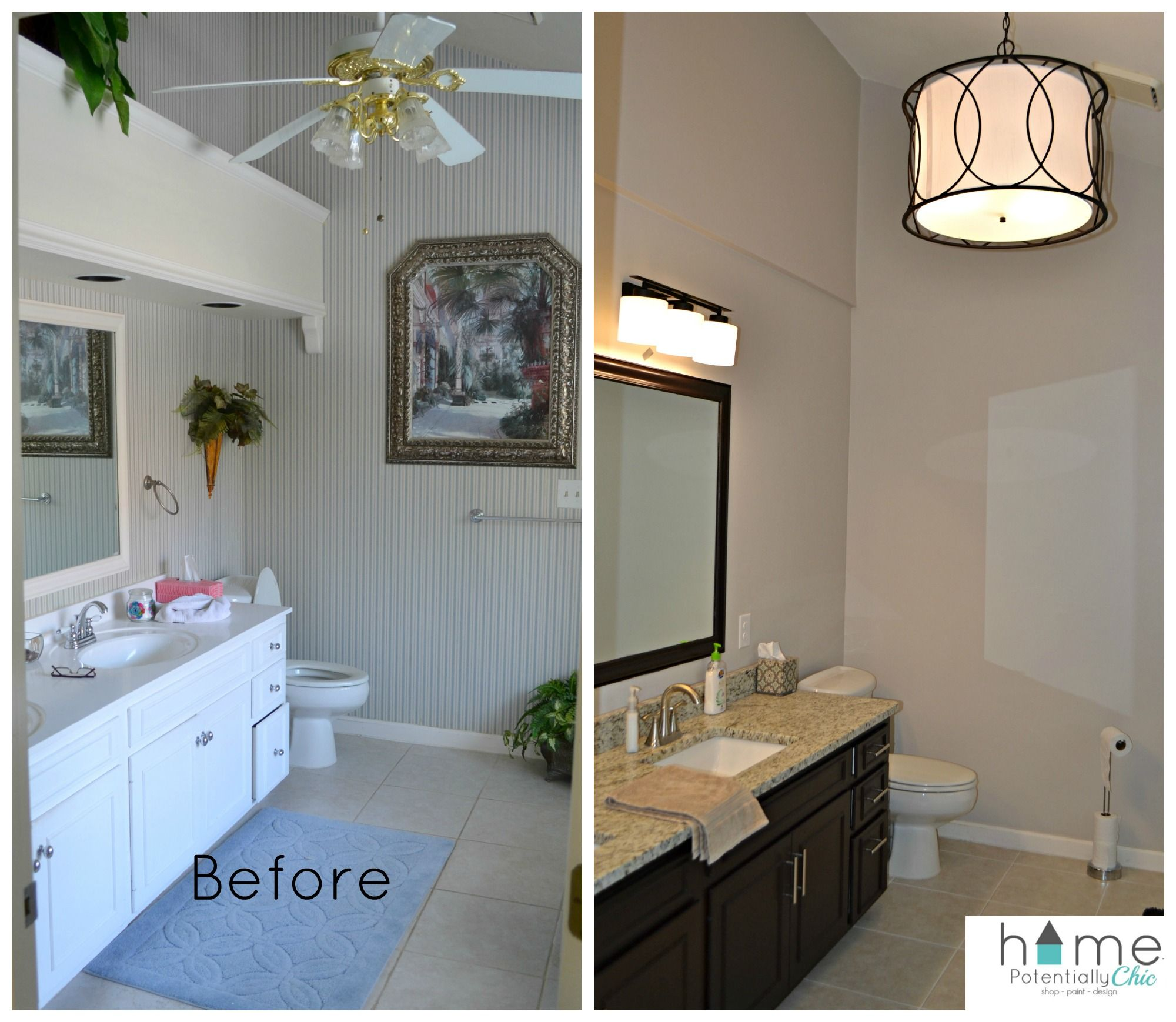 Master Bath Before And After Wallpaper Removal Soffit