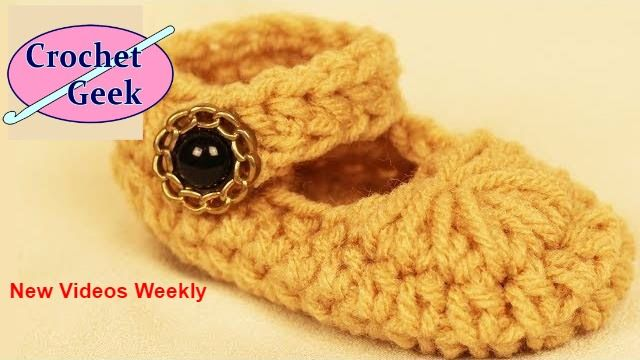 How to Crochet Baby Mary Jane Bootie Shoes for Newborn Feet - Free ...
