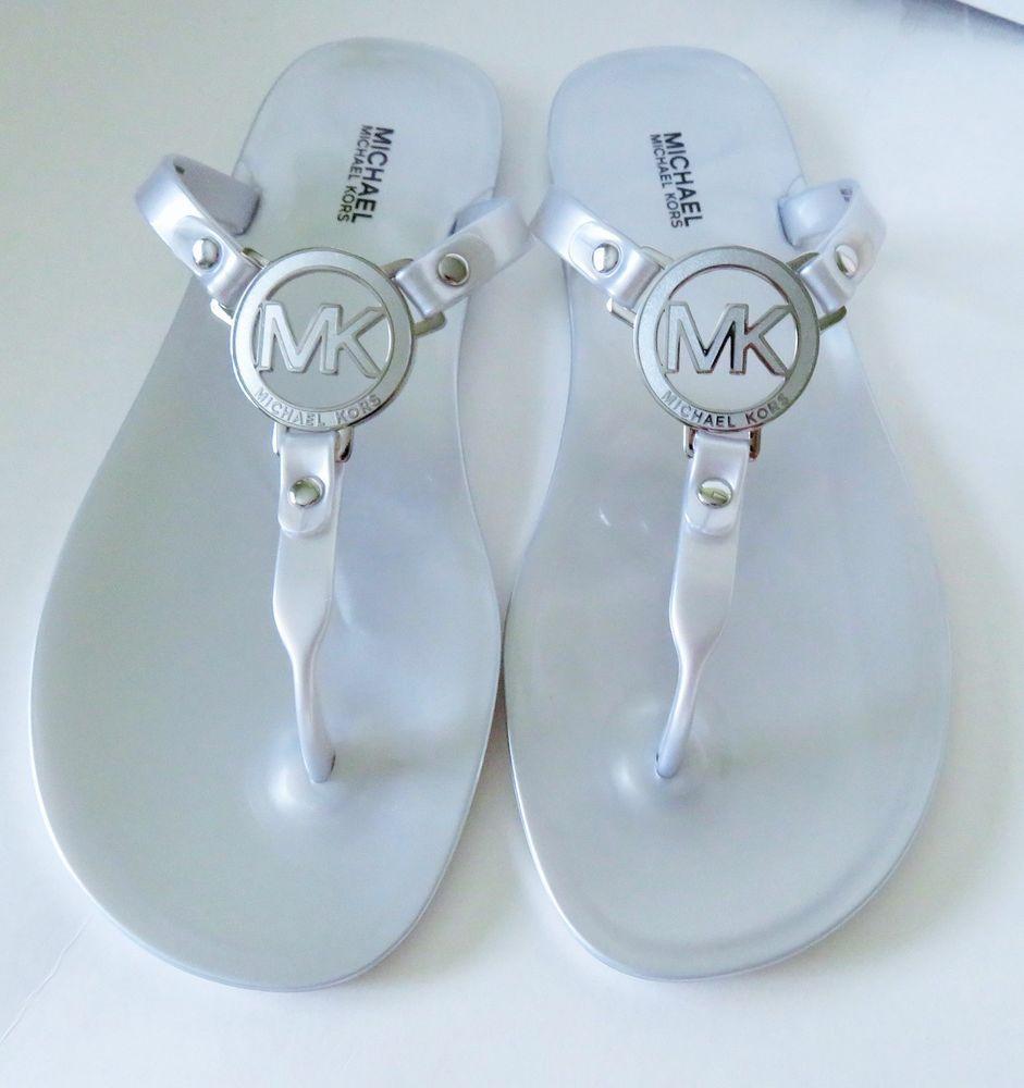 7e3089d23becb Michael Kors Charm Jelly Thong Sandals Silver Size 8M New  MichaelKors   TStrap