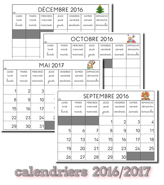 Calendrier Classe De Laurene.La Maternelle De Laurene Calendriers 2016 2017 Fiche