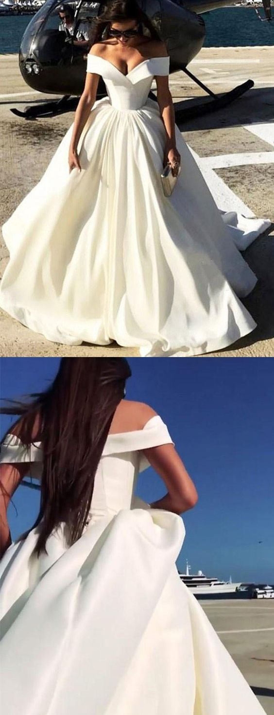 Princess ivory white formal gown off the shoulder ball gown prom