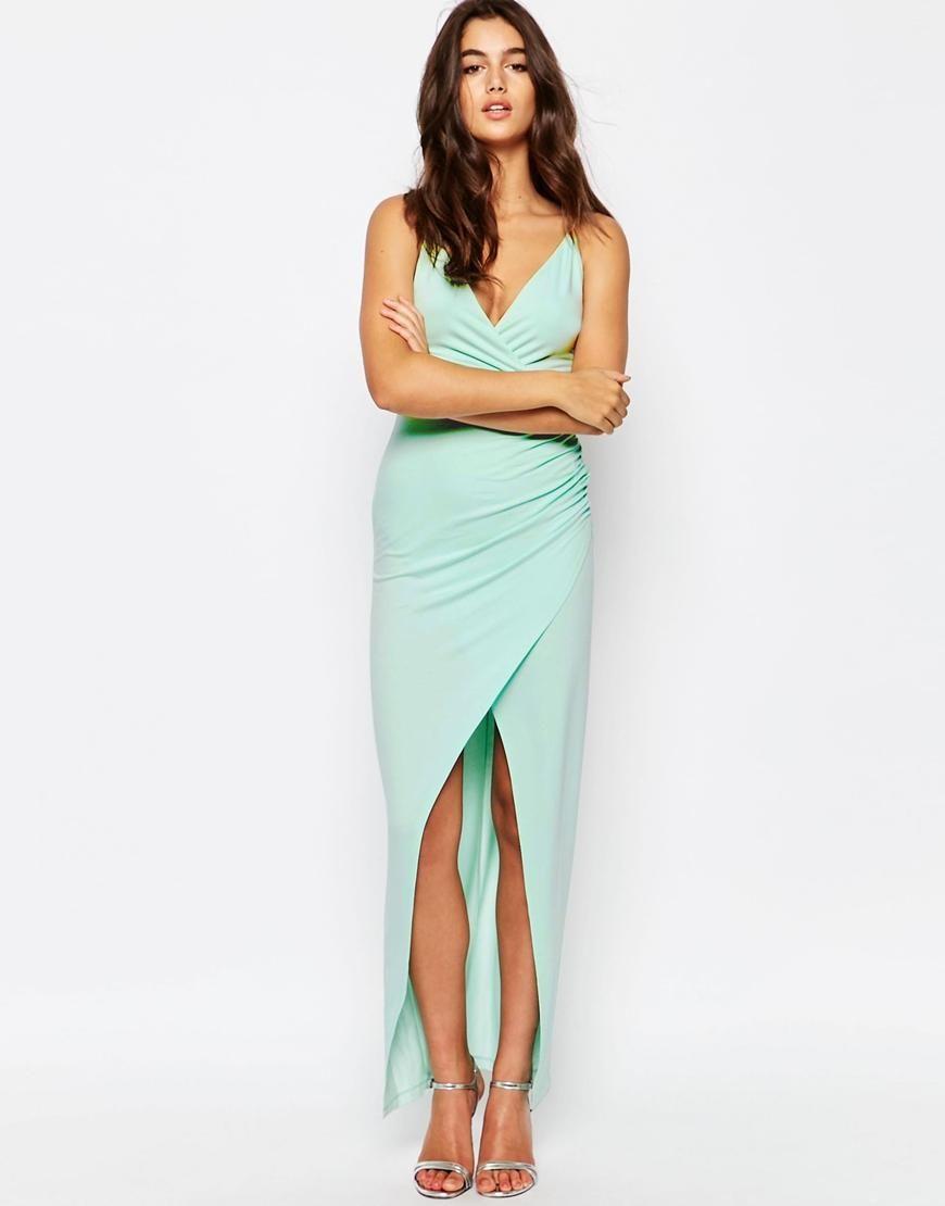 ASOS | ASOS Wrap Ruched Skinny Strap Maxi Dress at ASOS | C.U.A.O. ...