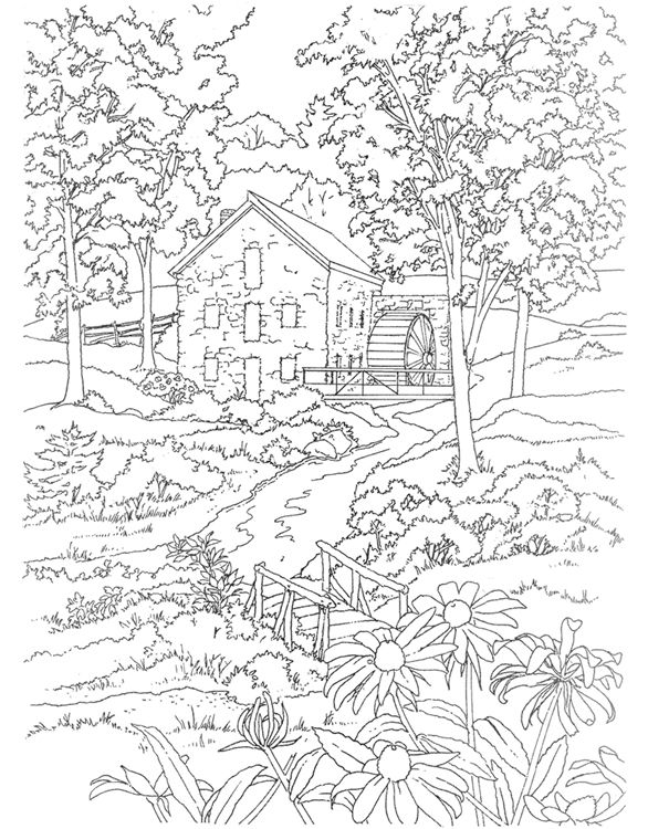 mill coloring page dover publications - Printable Scenery Coloring Pages