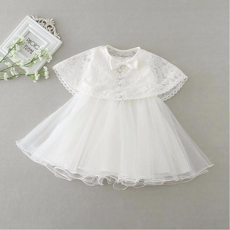 f8ff3df13 Verano recién nacido 1 year cumpleaños de la niña vestido + capa de las  muchachas de la boda vestidos bautizo batas del bebé de la ropa del vestido  del tutú ...