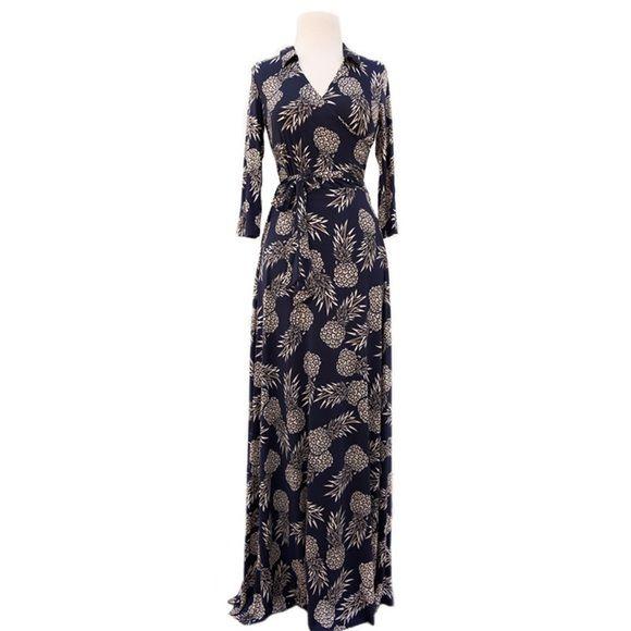 b380b49d28b88 Pineapple Maxi Dress Large Brand new and never worn  faux wrap maxi dress.  Long
