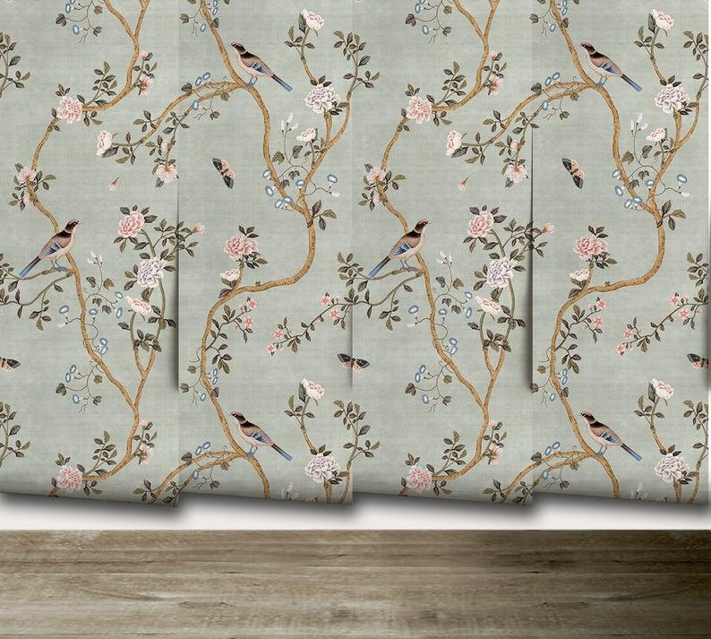 Avignon Chinoiserie Silver Lake Peel N Stick Or Etsy Chinoiserie Chinoiserie Wallpaper Prepasted Wallpaper