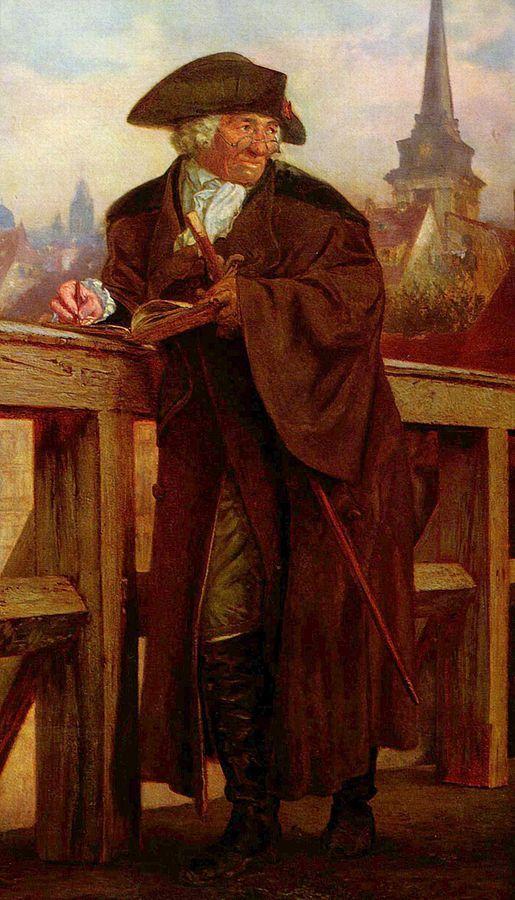 Adolph Menzel | Chodowiecki auf der Jannowitzbrücke (Chodowiecki on Jannowitz  Bridge), posthumous portrait, 1859