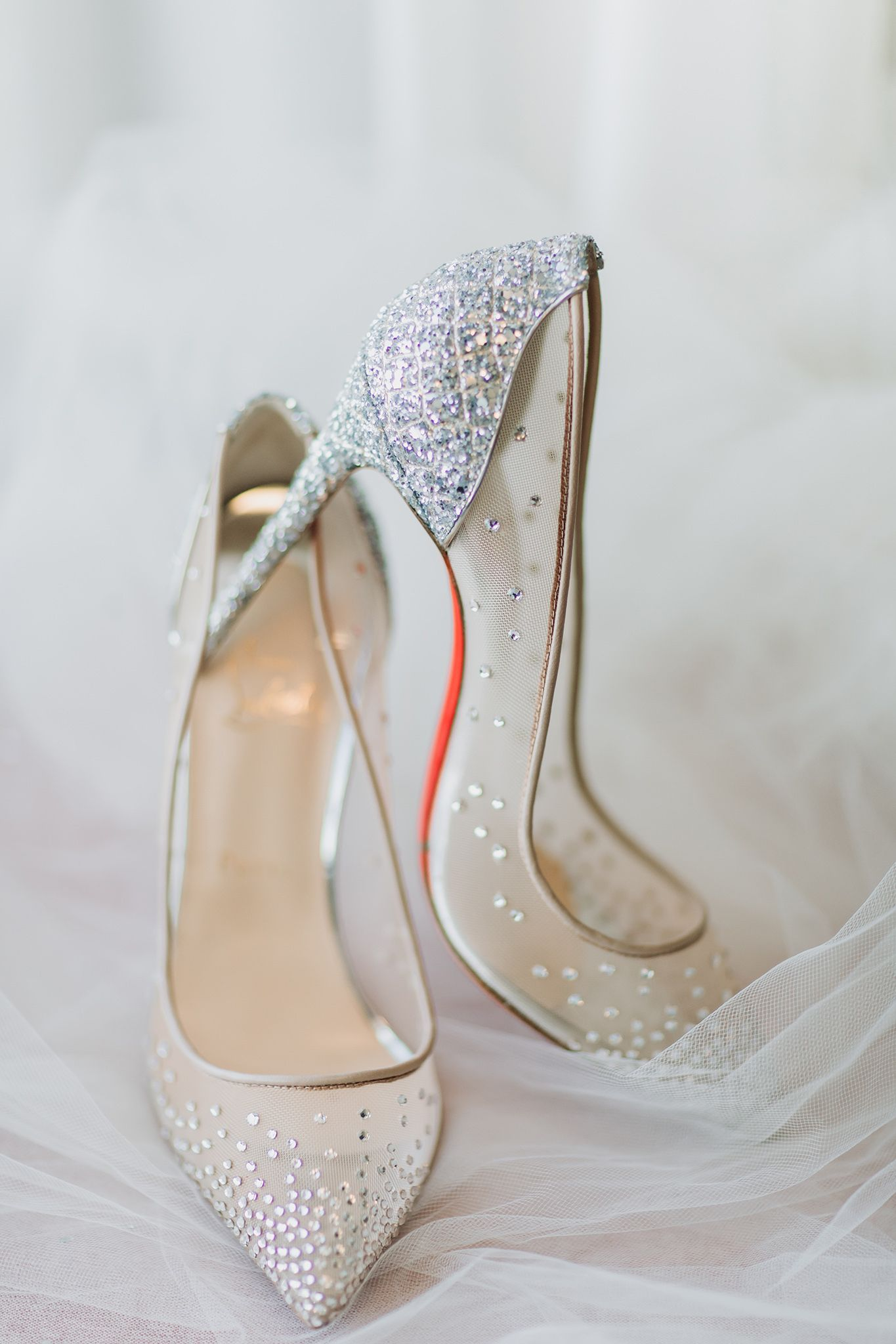 Glittery Christian Louboutin Make The Perfect Wedding Shoes! Bridal Details  Photographed By Edmonton Wedding Photographer