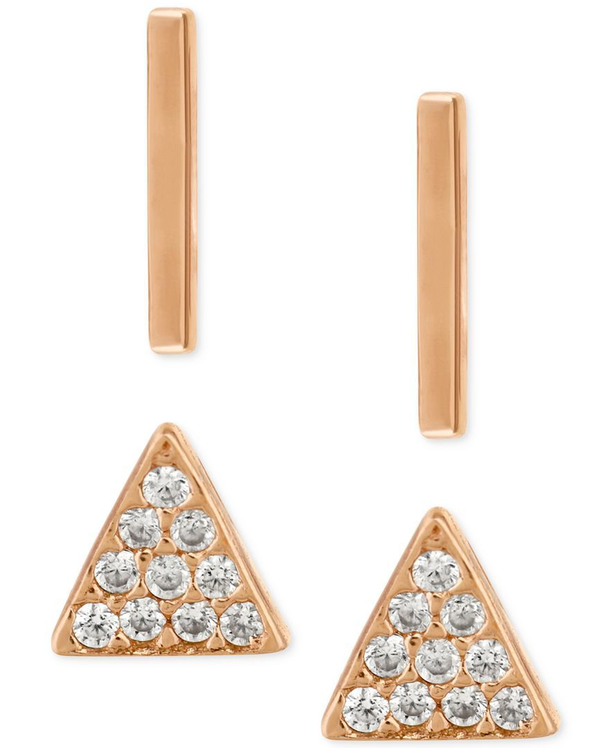 d5779559 Lucky Brand Rose Gold-Plated Sterling Silver 2-Pc. Set Bar and Pave ...