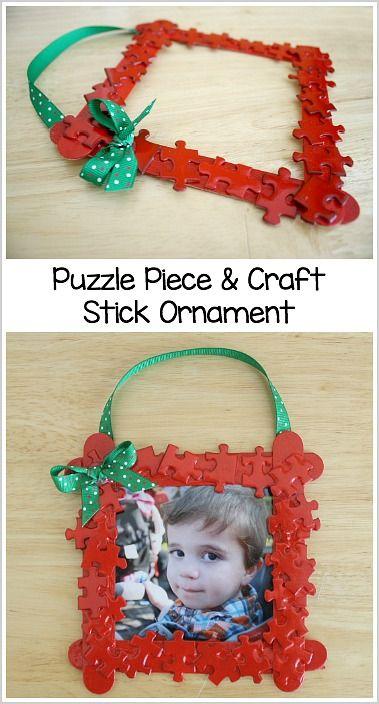 Homemade Christmas Ornaments: Puzzle Piece Frame