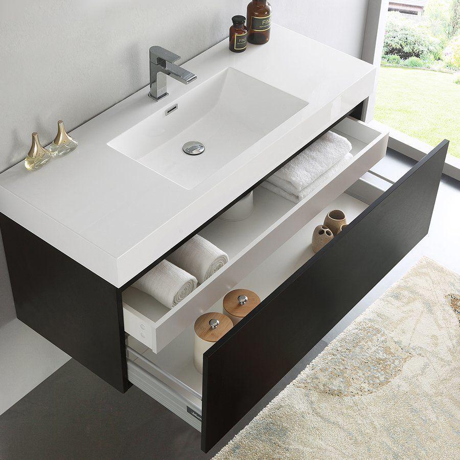 Fresca 48 Inch Mezzo Modern Single Sink Vanity With Integrated Sink Black Fcb8011bw I Modern Bathroom Vanity Single Bathroom Vanity Modern Bathroom Cabinets