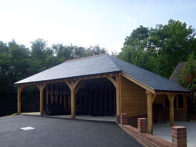 3 bay oak framed carport with log store landscaping for Three bay garage