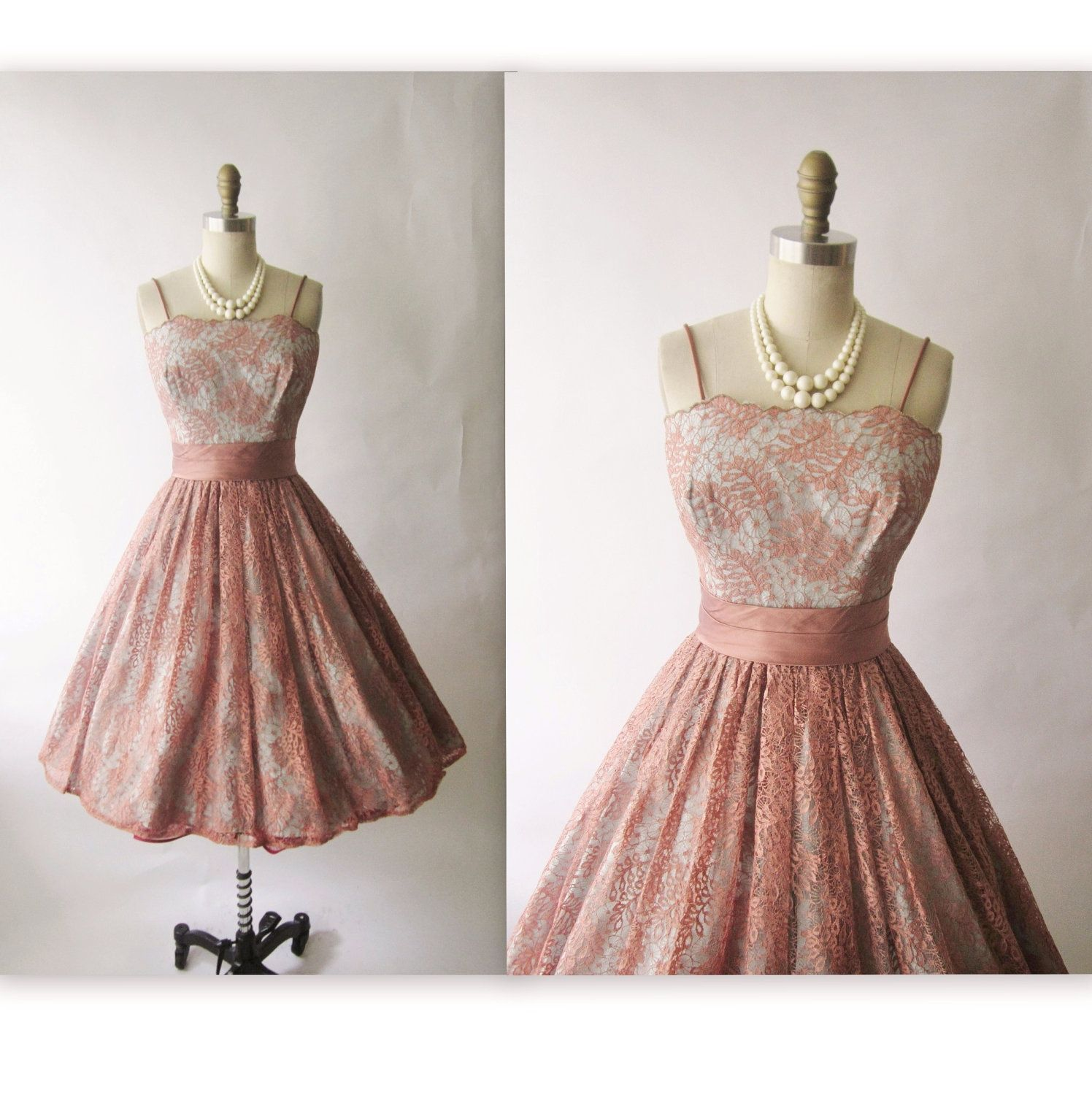 50\'s Lace Dress // Vintage 1950\'s Lace Cocktail Party Prom Mad Men ...