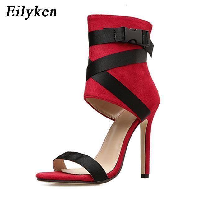 015ee051fd0 Eilyken Ladies Summer Gladiator Women Sandals Sexy Pumps 11cm Party Shoes  Buckle Strap Heels Red White Wedding shoes