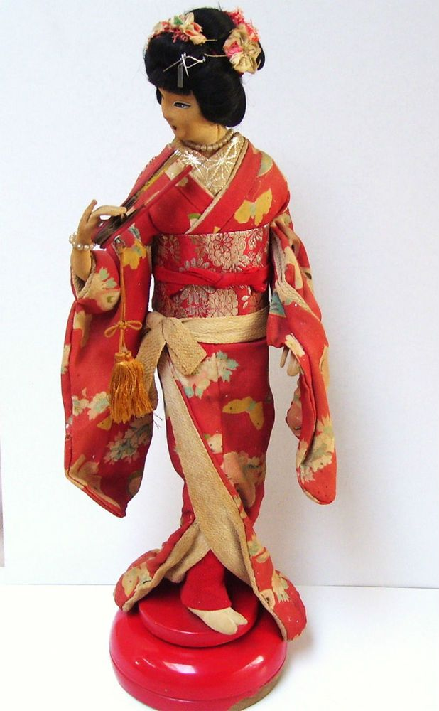 Antique Japanese Geisha Doll Cylinder Brass Music Box Stand Kimono