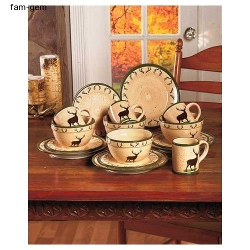 Woodland Dinnerware Set 16 pc Deer Hunting Rustic Dishes Mugs Bowls ...
