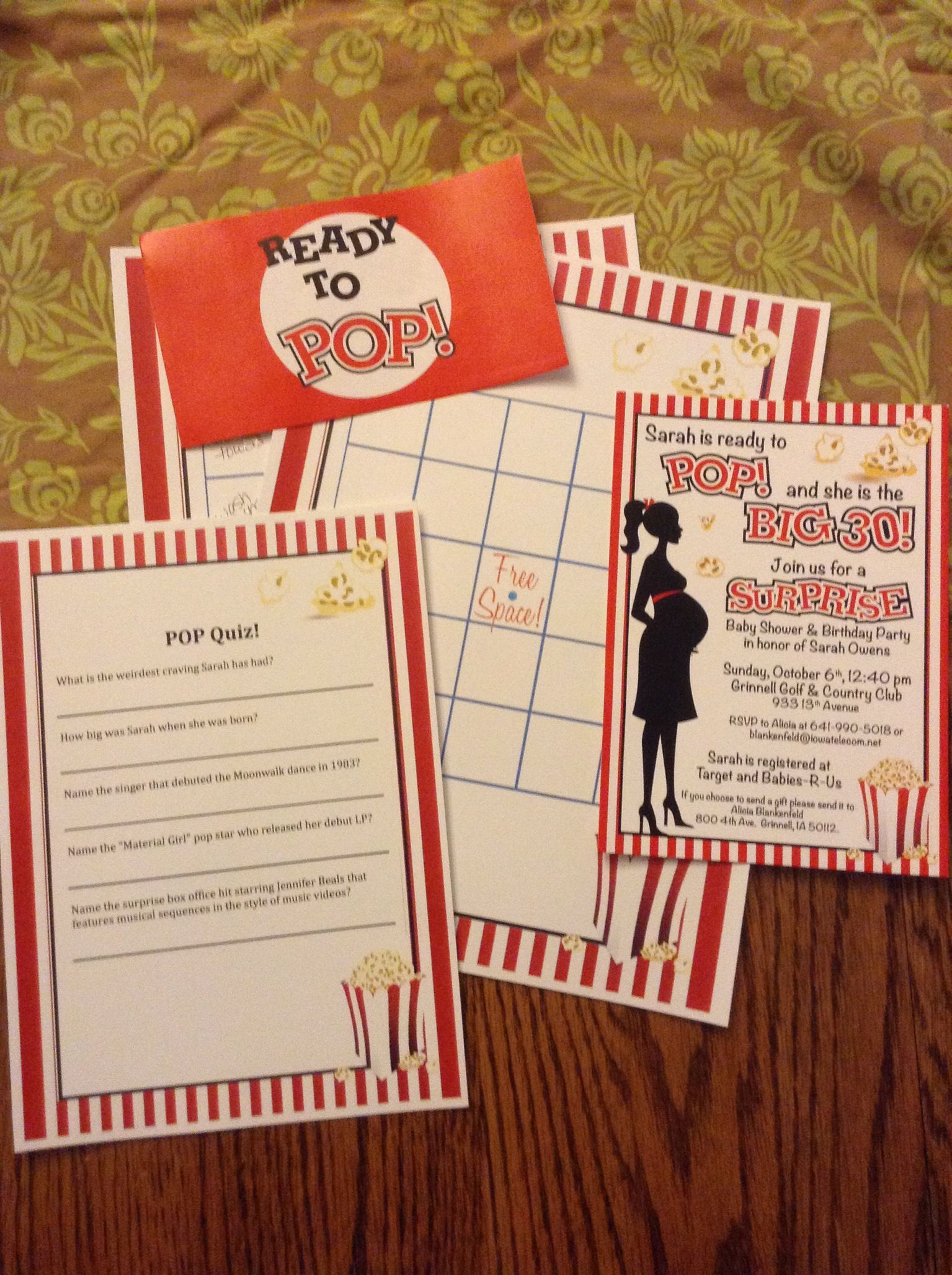 Ready to pop! Baby shower invitations, bingo, pop quiz | Baby ...