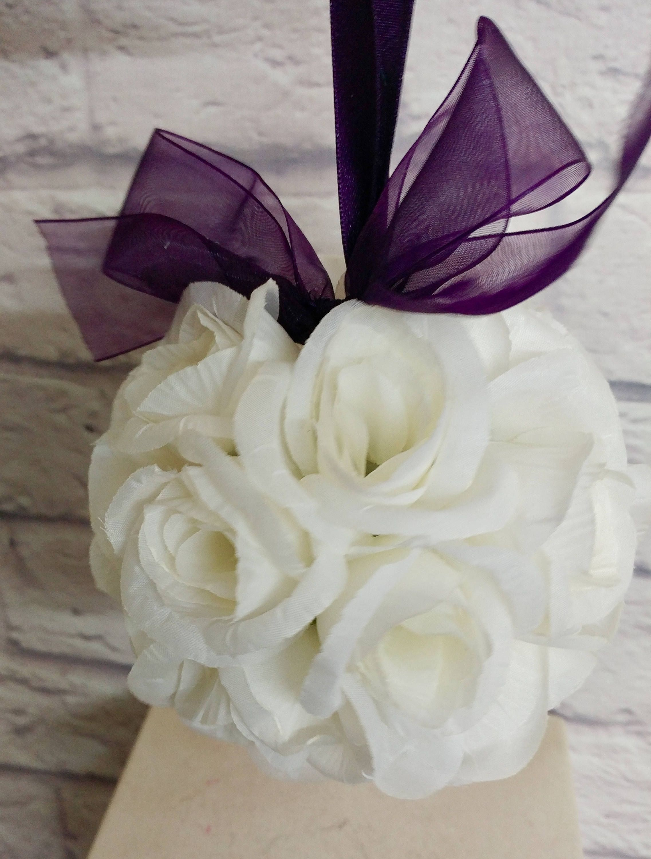 Wedding Flower Ball Pomander Flower Girl Bouquet Purple And White