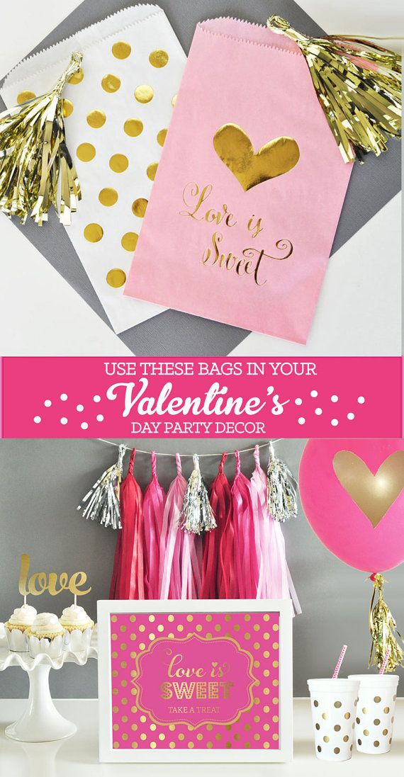 Valentine Candy Bags with a metallic gold Love is Sweet is perfect for packing your valentines for a valentines day party!  by Mod Party