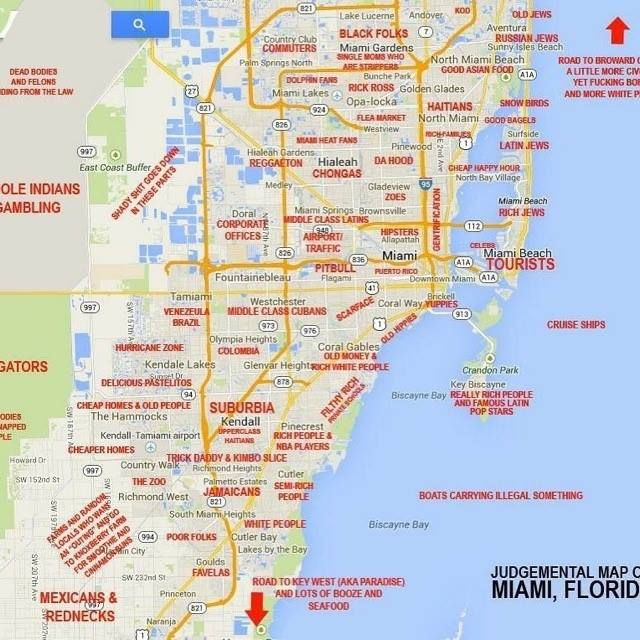 This Judgy Miami Map Will Offend Pretty Much Everyone Miami Map Map Of Florida Map