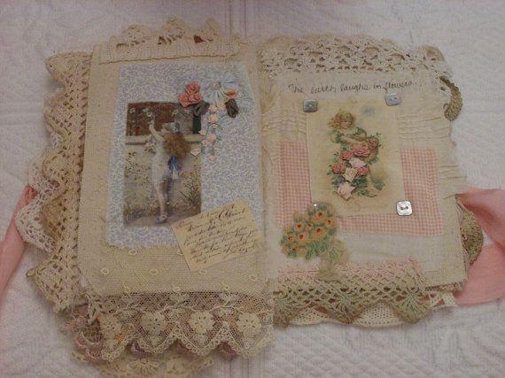 Fabric Rag Journal van StitchesbyJanO op Etsy