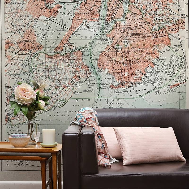 Old map of New York Living room Contemporary Wall Murals