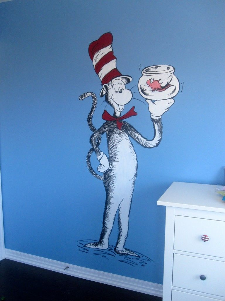 Cat In The Hat Mural Dr. Seuss Kids room, Nursery, Cats