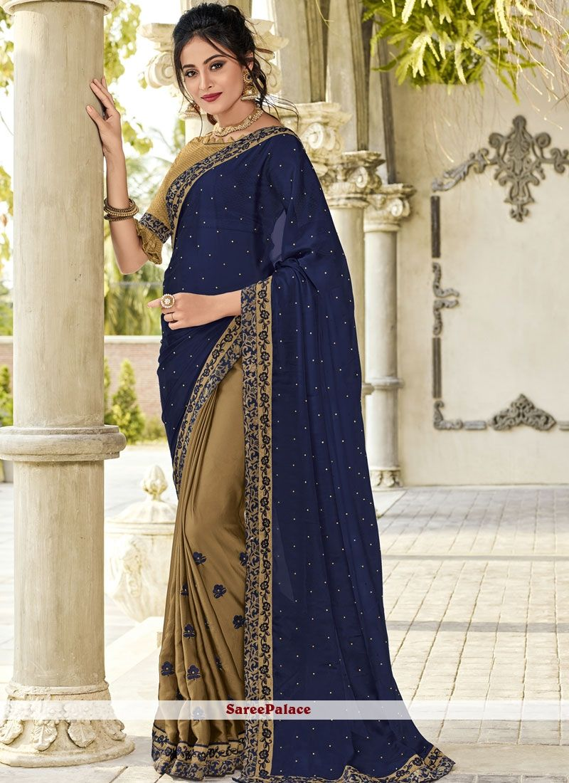 0fae7e23c7aa7 Green and Navy Blue Embroidered Faux Georgette Half N Half Designer Saree