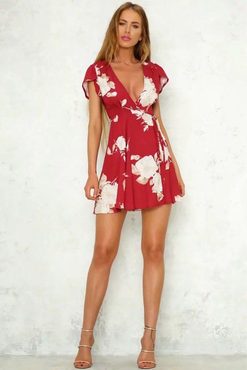 Red sexy v neck ruffles short sleeve women mini dress dresses