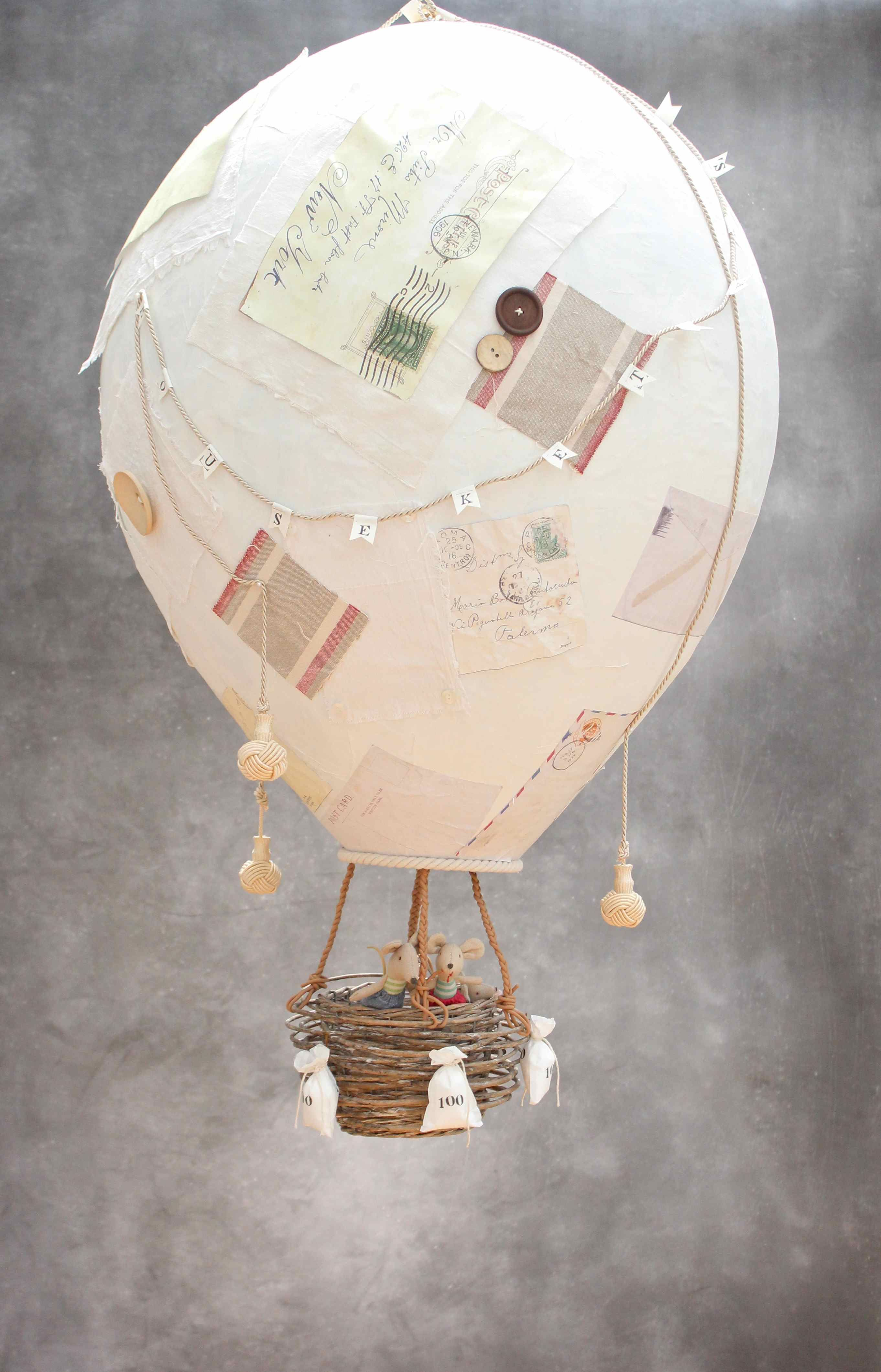 Diy papier mache hot air balloon from www for Papier mache decorations