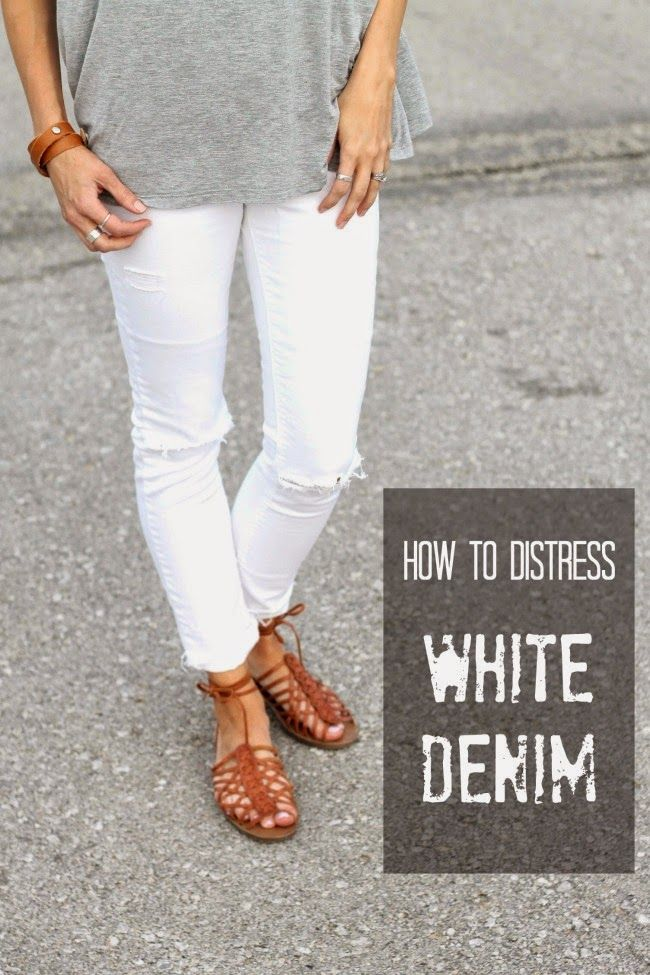 f52fe1a61194 How to distress white denim- easy tutorial for modest distressed jeans