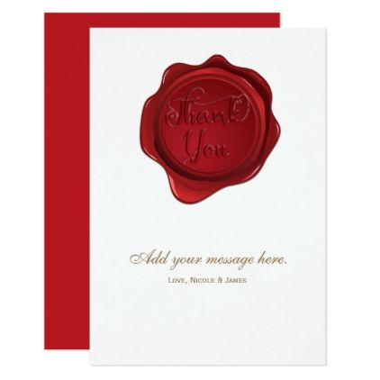 Red wax seal elegant formal wedding thank you pinterest red wax seal elegant formal wedding thank you card wedding invitations cards custom invitation card stopboris Images
