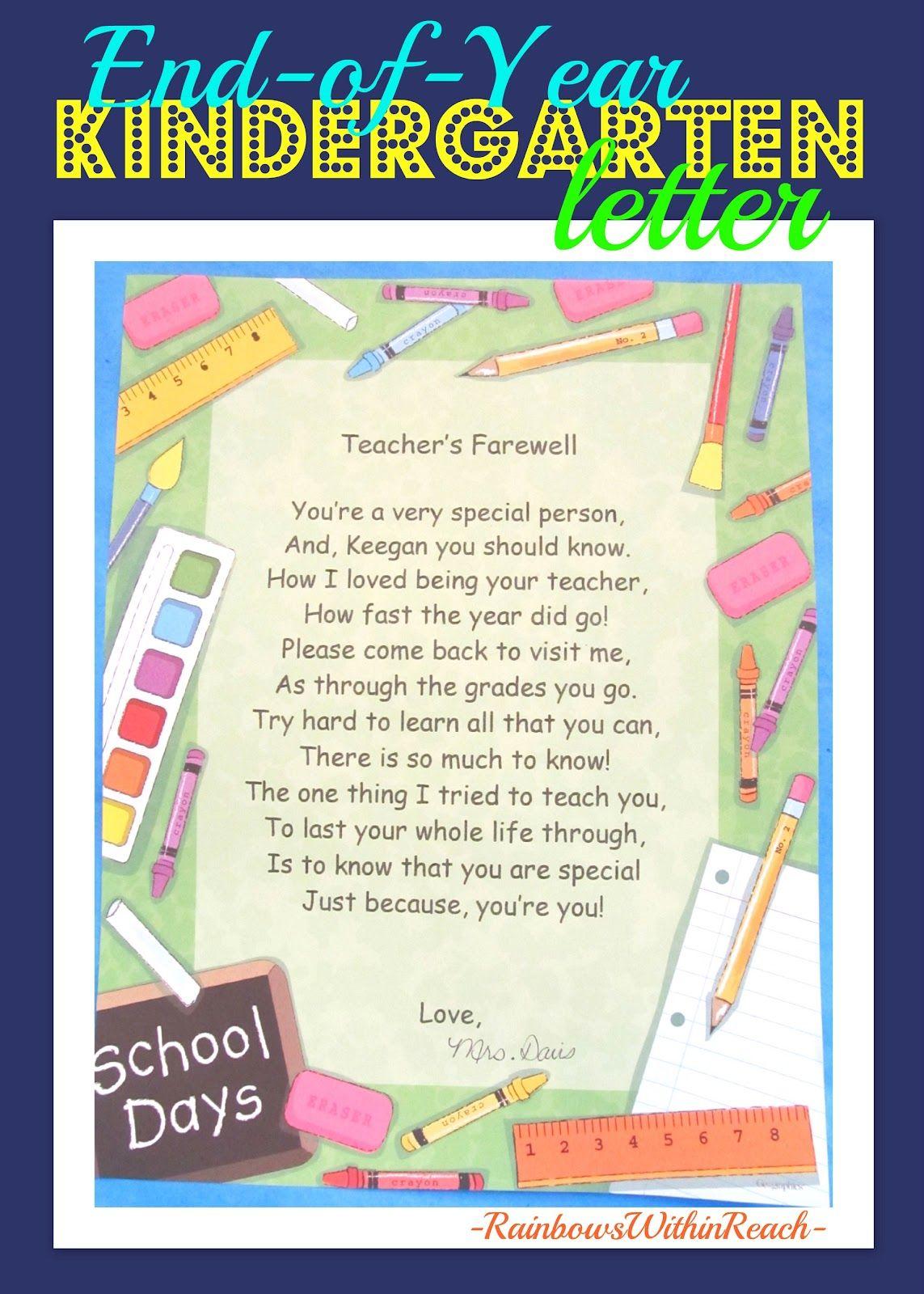 End of the year keepsakes rhymes school pinterest teacher teachers farewell letter for end of year so sweet altavistaventures Images