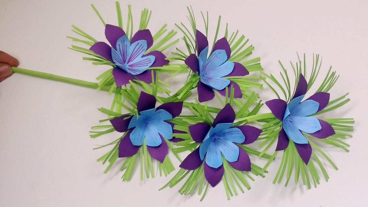 Paper Stick Flower Diy Very Beautiful Paper Flower With Stick