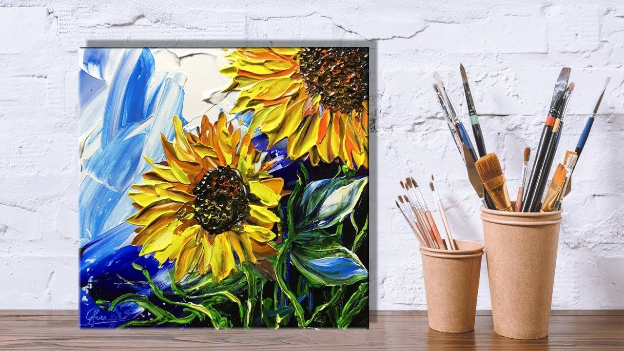 Paint Sunflowers Using A Palette Knife Painting Part 1 Flower Painting Painting Tutorial Sunflower Painting