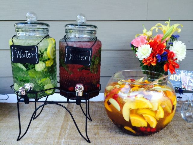 Outdoor Cocktail Party Infused Water Station And White Wine Sangria