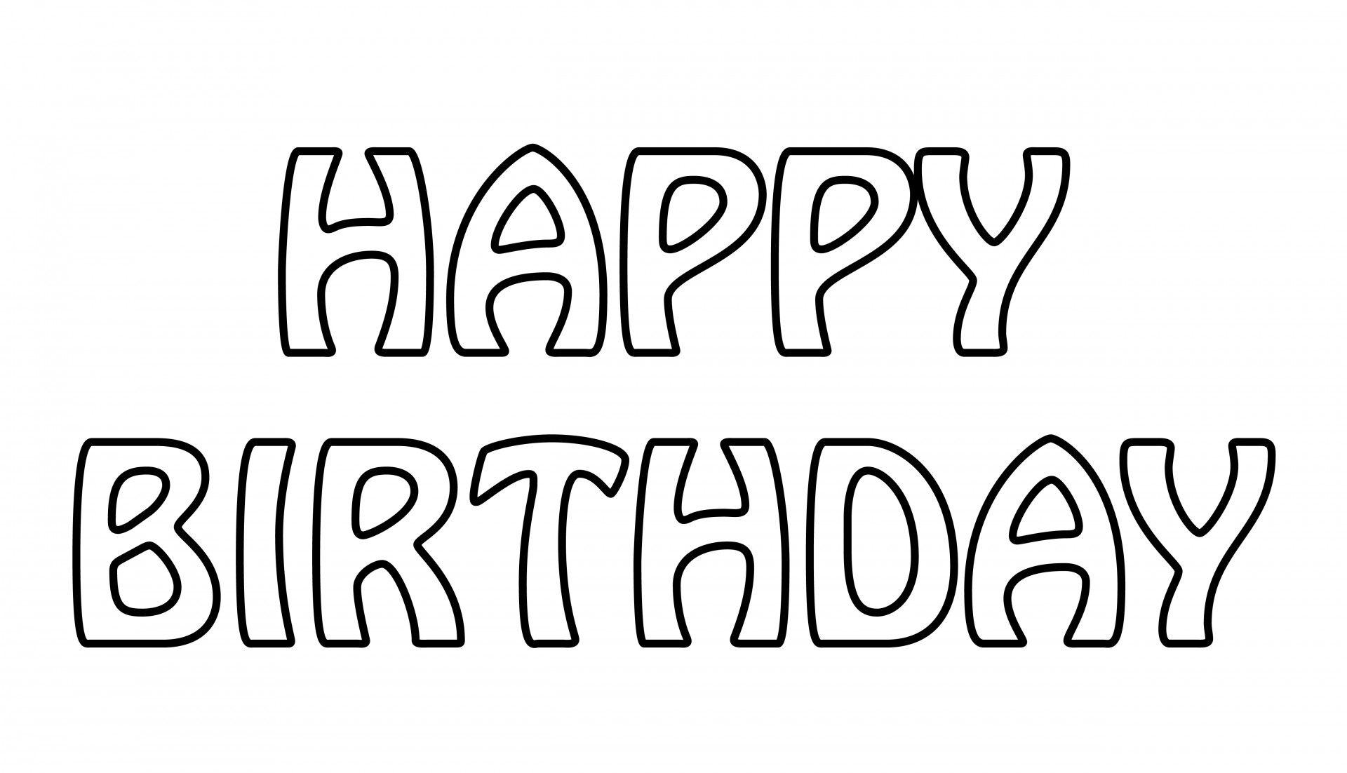 Happy Birthday Text Outline Tekstjes
