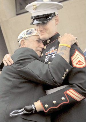 A Marine and a Veteran. This photo speaks.