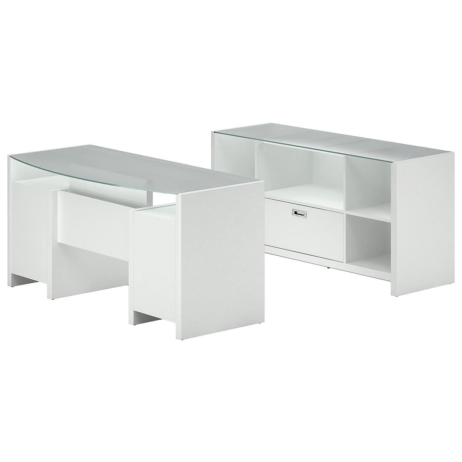Delicieux Kathy Ireland Office By Bush Furniture Bow Front Desk With Credenza,  Plumeria White