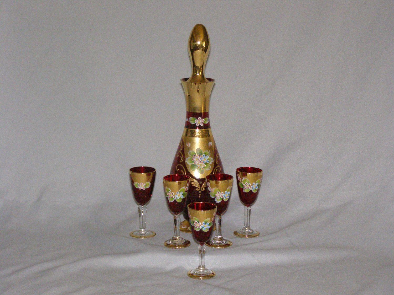 Vintage Ruby Red Glass Decanter Set Hand Painted Gold Trim 7 Piece Glass Decanter Set Glass Decanter Decanter Set